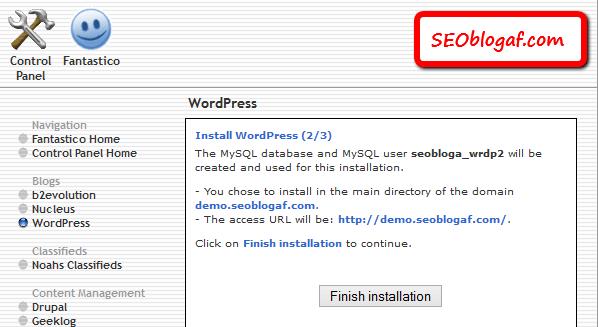 instal wordpress tahap kedua fantastico