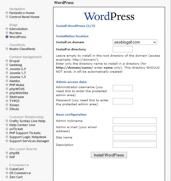 instal wordpress tahap pertama fantastico