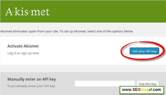 Get your API Key Akismet