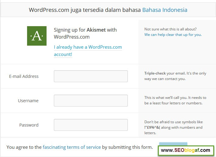login wordpress akismet