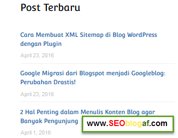 Cara Memasang Recent Post di Blog WordPress dengan Plugin