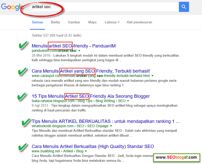 Hasil pencarian google artikel seo