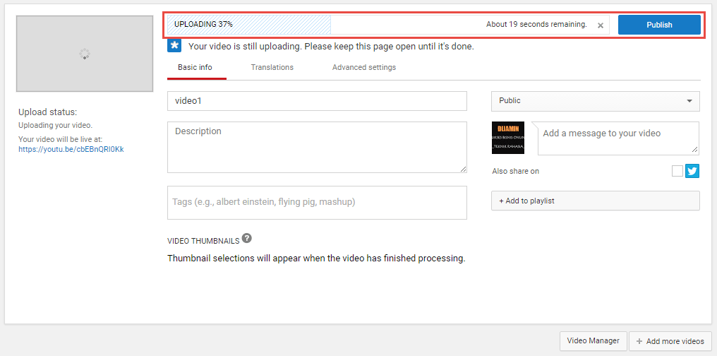 Tungu proses video upload di youtube